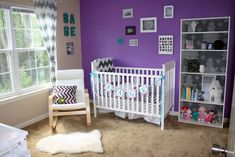 Such a great bold purple accent wall. The gray chevron accents create a great contrast! #chevron #purple