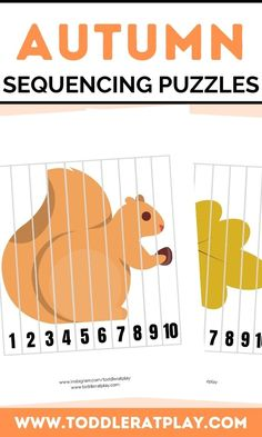 These Autumn Sequencing Puzzles are fun, colorful and great for improving and exercising cognitive skills and fine motor skills. Sequencing puzzles help toddlers, preschoolers and kindergartners memorize number order, counting and more! You'll receive a PDF file with 10 puzzles! #sequencingpuzzles #kidsprintables #printables #numberprintables