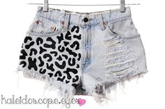 Vintage Levis Leopard Print Destroyed Denim Shorts