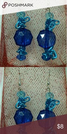Blue Gems & Teal Chain Drops Earrings Brand new, handmade, one of a kind.  Acrylic gems are stunning but not heavy like glass ones would be.  Teal chains adorn the darker Blue to create a bright effect.  Grab these up and everyone will be asking.   Handcrafted in the USA!! *Top Rated Seller, Fast Shipper, Smoke and pet free, nice packaging, multiple item discount. JennAKrause Collection Jewelry Earrings