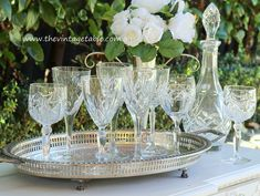Authentic vintage cut lead crystal wine glasses, silver trays & crystal decanters all available to hire for a truly elegant vintage style wedding.
