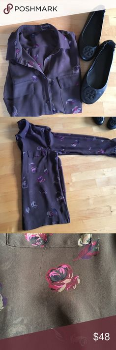 Gap mauve sheer floral long sleeve blouse Gap mauve sheer floral long sleeve blouse. A quality piece! Beautiful floral print. Poly material. Tuck into high waist jeans or a skirt. Make all your fall clothes goals come true⭐️⭐️🌟 GAP Tops Blouses
