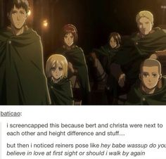And Ymir's just chilling at the back looking at Christa, Sasha looks determined to get some food and Connie just looks constipated