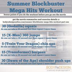 Summer Blockbuster Workout, Part 1: Mega Hits! (from https://bodyredesignonline.com/summer-blockbuster-mega-hits-workout-part-one/)
