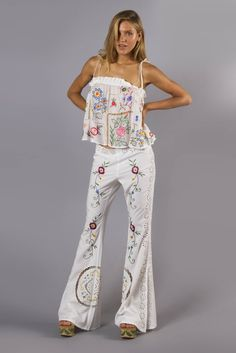 850a8baa3eebe FILLYBOO - 'AT THE HEART OF IT' FLARED PANT - IVORY Cut Work,