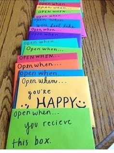someone special moving away? here is an tip that can still make you feel close to that personWrite them letters & title them open when & put moods. Example, open when sad, happy, etc. You can still make them feel happy even if they are miles apart❤️ Bff Birthday Gift, Birthday Gifts For Best Friend, Best Friend Gifts, Mum To Be Gifts, Gift Ideas For Mum, Bestfriend Birthday Ideas, Birthday Present Ideas For Best Friend, Diy Birthday Gifts For Sister, Birthday Present For Boyfriend