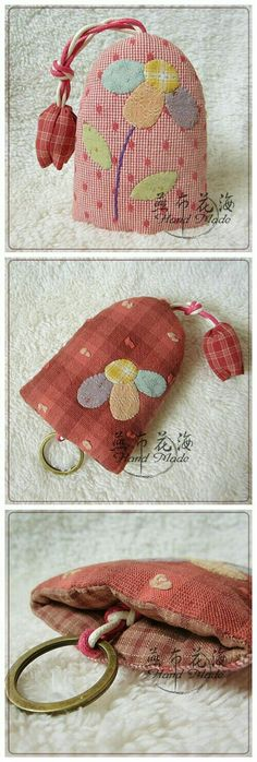 Small Sewing Projects, Sewing Crafts, Lavender Bags, Key Pouch, Key Covers, Patchwork Bags, Fabric Bags, Small Quilts, Key Fobs