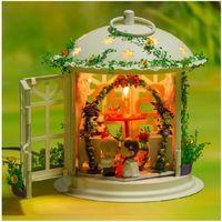 I003 sala delle nozze diy handmade dollhouse casa di bambola in miniatura modello in metallo con controllo del suono led illumina il trasporto libero