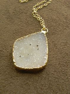 Warm Speckled Druzy Brazilian Agate Pendant and by allisonmooney, $55.00