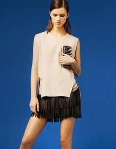 Zara jupe cuir franges / tendance printemps 2015
