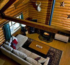 log home wood stove ideas