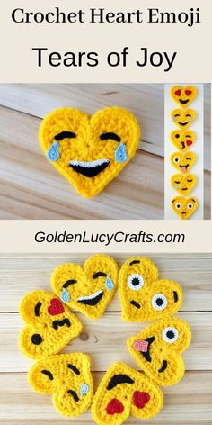 This Tears of Joy Crochet Emoji is number two in the series of six. This Emoji is also known as the Laughing Emoji. This Emoji is laughing so much that it is crying tears of joy. Crochet Fox, Crochet Teddy, Cute Crochet, Crochet Motif, Easy Crochet, Crochet Hooks, Crochet Thread Size 10, Crochet Hook Sizes, Cotton Crochet