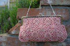 Dirty pink crochet bag, crochet shoulder bag by ZoZulkaart on Etsy