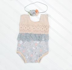 Be Greyful for Peach Day - newborn romper in peach, grey and white with darling lace and florals (RTS) includes headband by SoTweetDesigns on Etsy