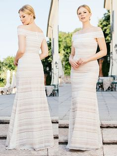 Figurbetontes, schulterfreies, spitzenbesetztes Brautkleid im Fit and Flare-Stil. Fit And Flare, Wedding Dresses, Fashion, Fashion Styles, Dress Wedding, Bridal Gown, Curve Dresses, Bride Dresses, Moda