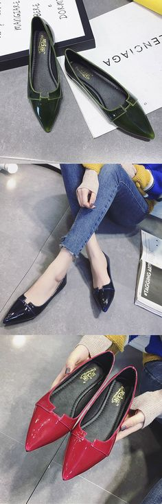 US$9.92 Pointed Toe Match Flat Elegant Slip On Shoes For Women