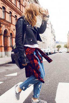 7934150019aa59 15 Ways to Wear Checkered Vans Slip-on Sneakers