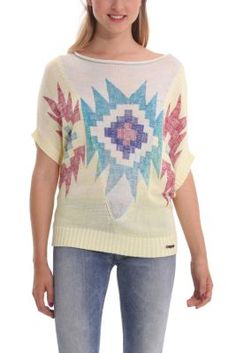 Desigual: women's Annelore open knit oversize jumper. An ethnic-inspired print.