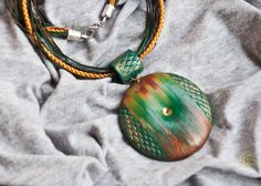 Large hollow pendant made from polymer clay in green and gold colours, art deco by Etniika on Etsy