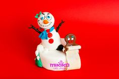Snowman and gingerbread Christmas Topper made in fondant