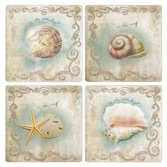 """CoasterStone Absorbent Coasters, """"Seashore"""", Set of Sea Pictures, Beachy Pictures, Nautical Prints, Nautical Cards, Glas Art, Beach Design, Stone Coasters, Decoupage Paper, Beach Crafts"""