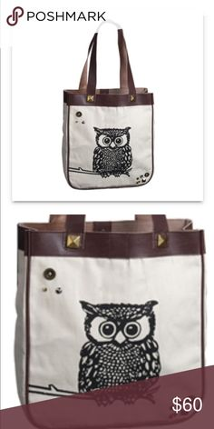 """NWT Glam Owl Canvas Tote Adorable own screen printed onto heavyweight cotton canvas with vegan leather trim. There's a small zipper pocket inside, magnetic closure. 12x13x4 with 10"""" drop. Bags Totes"""