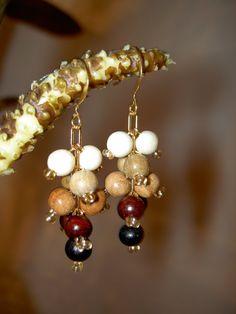 multicolor grape wood earrings / wood  by TheWoodenTreasures, $10.00