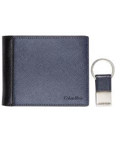 48183548343d Calvin Klein Saffiano Leather Two-Tone Bifold Wallet   Key Fob Calvin Klein  Men