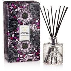 Voluspa Japonica Japanese Plum Bloom Home Ambience Diffuser (€18) ❤ liked on Polyvore featuring home, home decor, home fragrance, purple, voluspa diffuser, voluspa, flower stem and flower diffuser