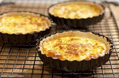 Five cheeses made these tarts super cheesy, oozy and tasty. We made our own pastries that were buttery and flakey, also we used mini tartlets instead of tart pan. Cheese Quiche, Goat Cheese, Mini Tartlets, Tart Pan, Monterey Jack Cheese, Cream Cream, How To Make Cheese, Tarts, Pastries