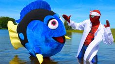 Spiderman Finding DORY in Real Life! Spiderman Doctor Finding Dory at Be...