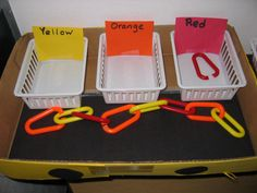 Task box: Fine motor and sorting by color. Repinned by Autism Classroom @ http://www.pinterest.com/autismclassroom