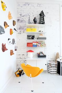 Kidsroom featuring the Orange Slice Junior designed by Pierre Paulin for Artifort.