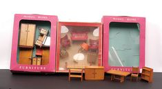 """Dolls house furniture, quantity of 1960s wooden, hard plastic and cloth upholstered, including A Barton & Co """"Modern Home two boxed wooden sets"""", plus Tofa boxed set, complete with hard plastic settee, two chairs, television, table lamp and three seater wooden chair; plus other assorted loose miniatures, some damage throughout. (qty)"""
