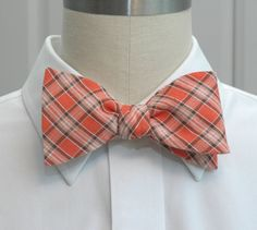 Mens Bow Tie in coral plaid by CCADesign on Etsy, $28.00