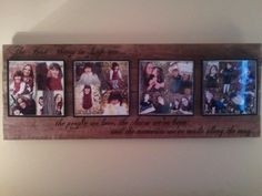 I love to scrapbook and I liked the idea of being able to show off some pages. So I took cheap scrapbook frames from a craft store and mounted them on some old fence boards added an appropriate quote around it and now its the focal point of my living room. And I can change out the pictures as often as I like!