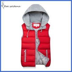 Zoe Saldana 2018 Women Hooded Vest Autumn Winter Warm Cotton Padded Waistcoat Sleeveless Zipper Basic Coat