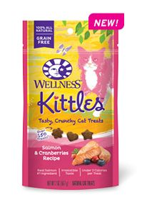 Wellness Natural Pet Food Kittles™  Salmon & Cranberries Recipe--crunchy, grain-free cat treats in three scrumptious flavors: Salmon & Cranberries Recipe, Chicken & Cranberries Recipe, and Tuna & Cranberries Recipe. Learn more: http://weln.es/1m3vYJw