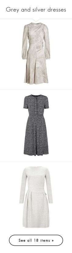 """""""Grey and silver dresses"""" by dresslikearoyal ❤ liked on Polyvore featuring dresses, grey, grey fit and flare dress, alexander mcqueen dresses, gray silk dress, fit-and-flare dress, grey silk dress, calf length dresses, floral midi dress and silk midi dress"""