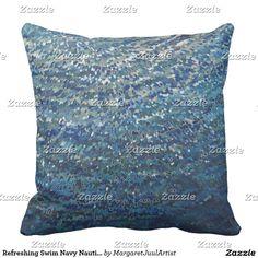 Refreshing Swim Navy Nautical Decor Pillow Juul