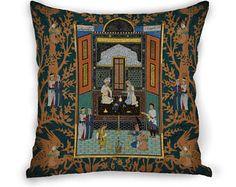 Shahnameh illustration cushion cover Pillow Case  Decorative Pillow  Velvet 17 X 17 Gift Idea   Persian Cushion  Middleeastern