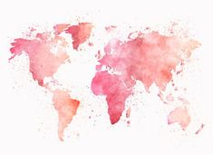 Pink World Map watercolor map baby girl nursery pink watercolor world map wall art gift baby nursery room decor gift pastel colors Toddler Room Decor, Nursery Room Decor, Nursery Prints, Nursery Wall Art, Girl Nursery, Room Kids, Watercolor World Map, Pink Watercolor, Wallpapers Rosa