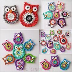 Very cute - Crochet owls! Crochet Owls, Love Crochet, Crochet Motif, Crochet Crafts, Crochet Yarn, Crochet Flowers, Crochet Patterns, Owl Patterns, Learn Crochet
