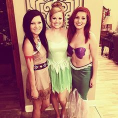 Disney Princess Halloween Costumes: Pocahontas, Tinkerbell, and Ariel