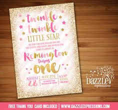 Printable Pink and Gold Twinkle Little Star Birthday Invitation   Gold Glitter   Confetti Stars   Girls 1st Birthday Party   FREE thank you card included   Printable Matching Party Package Decorations Available! Banner   Signs   Labels   Favor Tags   Water Bottle Labels and more! www.dazzleexpressions.com