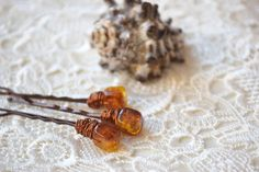 Beaded Hair Pin Crystal Bridal bead bobby Pins Glass amber Beach wedding hair accessories clips bridesmaids gift Sister gift Girl Set of 3