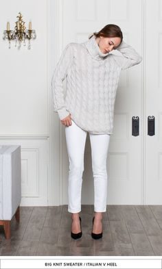 Emerson Fry | Big knit turtle neck jumper, white jeans + black suede heels
