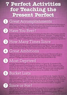 """7 Perfect Activities to Teach the Present Perfect"" #ELL #ELD #ESL"