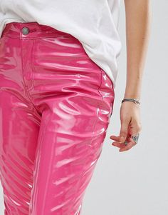 MEGA-Teile von ASOS! Pink Plastic, Plastic Pants, Asos, Skinny, Vinyl Leggings, Vinyl Clothing, Dope Outfits, Fashion Outfits, Fashion 2018 Trends