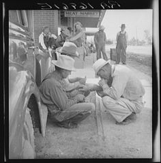 Dust bowl farmers of west Texas in town. Lange, Dorothea, photographer. 1937 June. 1 negative : nitrate ; 2 1/4 x 2 1/4 inches or smaller. LC-USF34-016961-E (b film nitrate neg.)